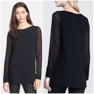 Theory Toska Sheer Sleeve Silk Top M
